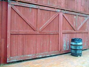 red sliding barn door